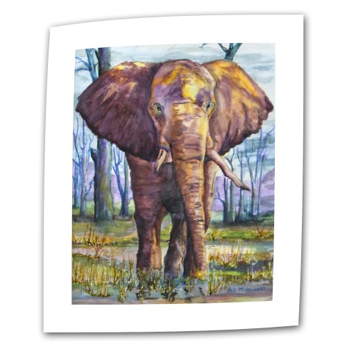ArtWall Elephant by Dan McDonnell Flat/Rolled Canvas Art with 2-Inch Accent Border, 24 by 32-Inch