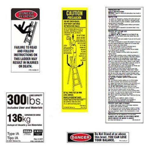 Werner 300 LB Fiberglass Step Ladder Label Kits (Pack of 6)