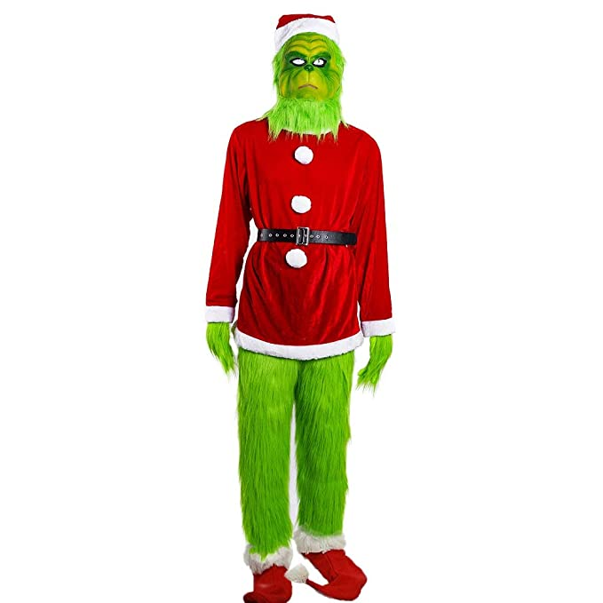 Amazon.com: Grinch Disfraz Grinch Máscara de Papá Noel ...