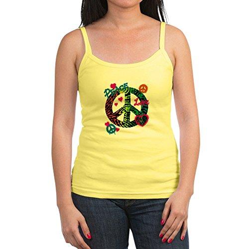 Royal Lion Jr. Spaghetti Tank Peace Love Rainbow Peace Symbol - Lemon, Medium