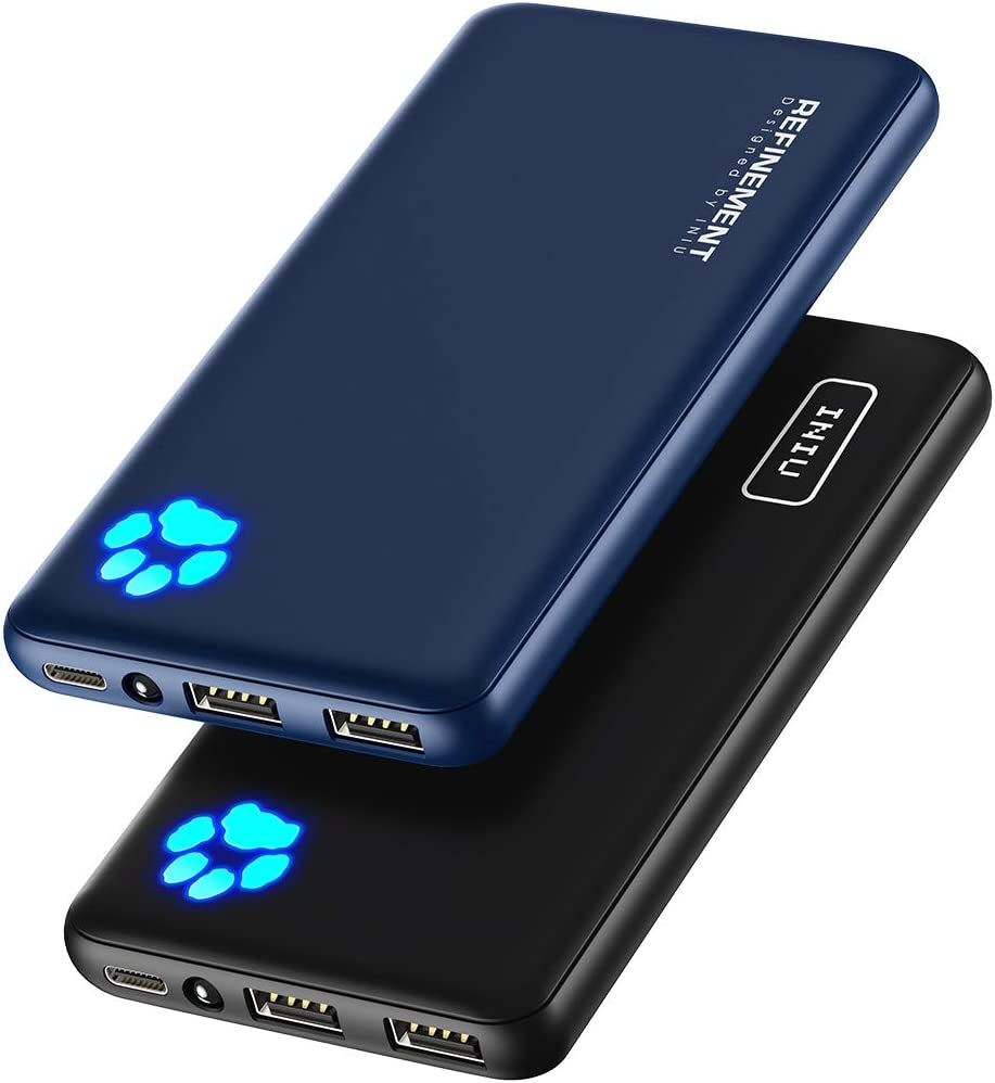 [2 Pack] INIU Portable Charger, Slimmest & Lightest Triple 3A USB C High-Speed 10000mAh Power Bank, Phone External Battery Pack Compatible with iPhone 12 11 X 8 Plus Samsung S20 Google LG iPad Tablet