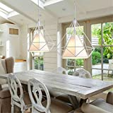 Vintage Ceiling Light 25cm Modern Diamond Shape Pendant Light Geometric Cage Ceiling Chandelier (white+white shade)