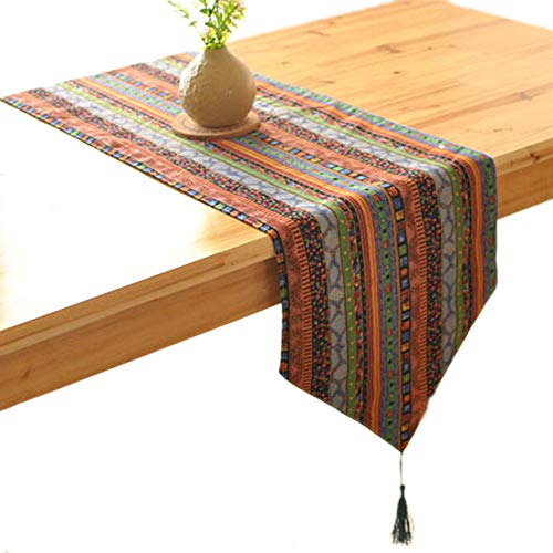 KEPSWET 12 x 86 inch Bohemia Table Runner Cotton Hemp Stripe, Retro Rural Style Doily, Summer Party Holidays Livingroom Home Decorations