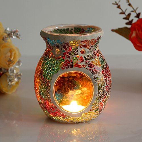 Colored Mosaic Oil Burner Furnace Candle Aromatherapy Tealight Warmer