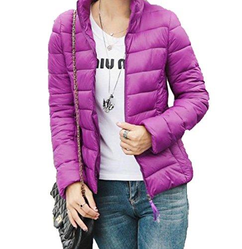 Coats Zipper M Down Stand Purple Solid Jacket Pocket Women's EKU Collar IqHpp0