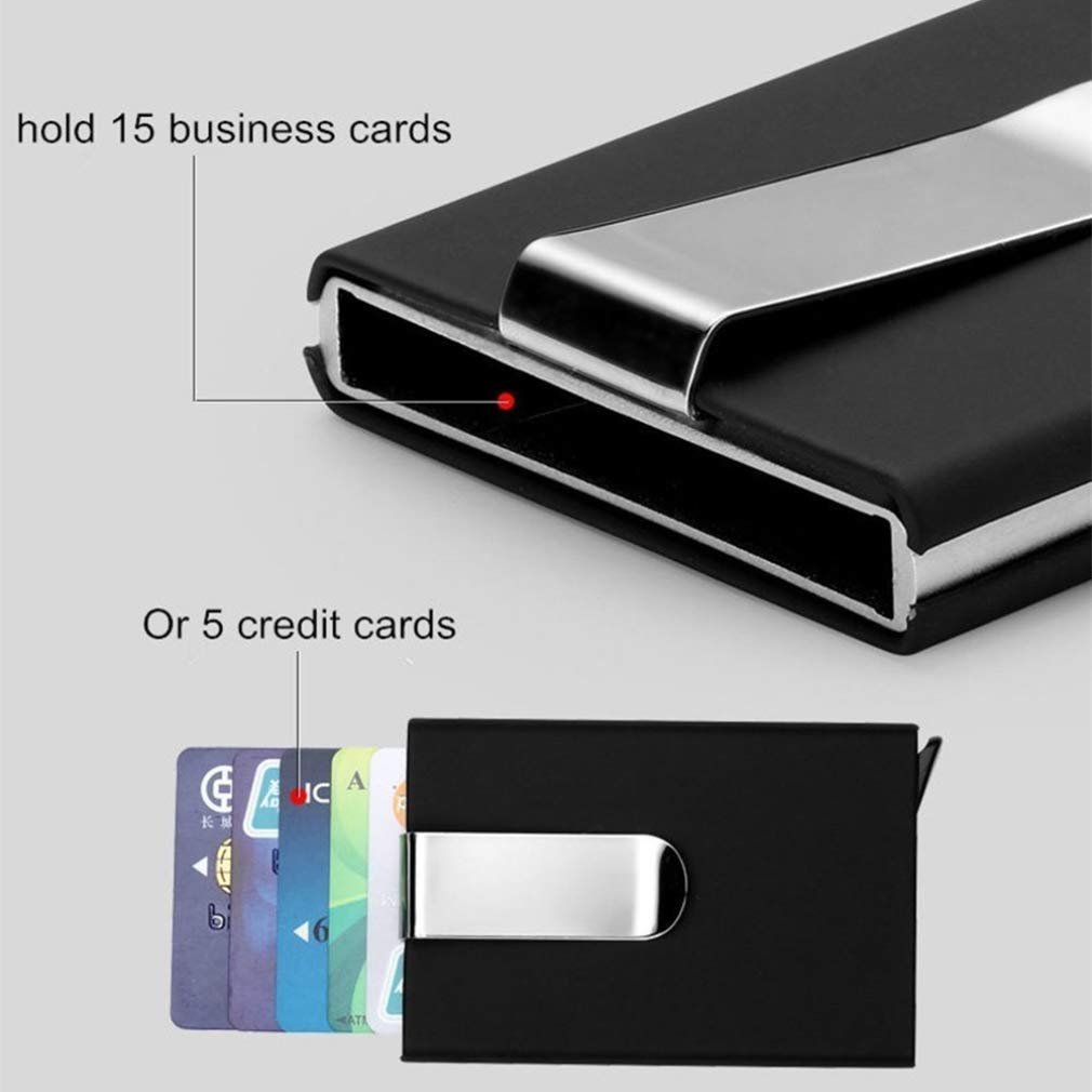 RFID Blocking Credit Card Holder, XSLEGO Business Card Holder Protector Magic Pop Up Aluminum Wallet Money Clip (Blue) by XSLEGO (Image #4)