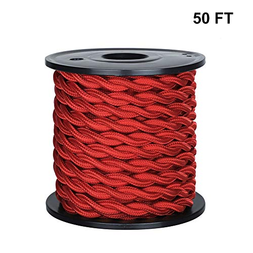 [UL Listed] 50ft Twisted Cloth Covered Wire, Carry360 Antique Industrial Electronic Wire, 18-Gauge 2-Conductor Vintage Style Fabric Lamp/Pendant Cloth Cord Cable (Red)