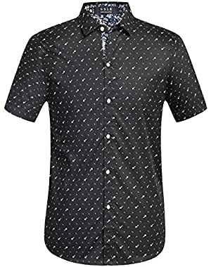 Men's Prints Casual Short Sleeve Button Down Shirt