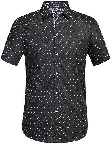 SSLR Men's Short Sleeve Prints Button-Down Shirt (Medium, Black)