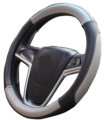 Toyota Prius Cammry Corolla Tundra Tacoma Highlander Sienna 4runner Avalon Gray Car Steering Wheel Cover Honda CRV Pilot Accord Chevrolet Chevy Cruze Malibu Cheetah Print Steering Wheel Cover (Toyota Prius Leather)