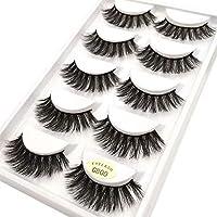 Coollooda Natural Thick 3D False Eyelashes Makeup Extension 5 Pair Pack Handmade Fake Eye Lashes G800