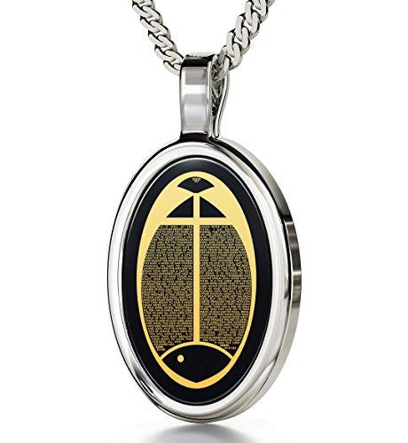 Collier pendentif poisson avec Jean Luc imprimé en or, 24 Carats sur une pierre Onyx ovale
