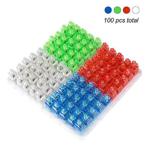 Century Finger Lights Bright LED Rave Party Supplies Light up Toys Assorted Color 100 Pack