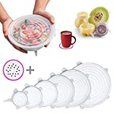 Silicone Stretch Lids, 6 Pcs Stretchable Reusable Food Saver Covers for Dishwasher and Freezer, Silicone Bowl Covers Reusable, Lanting (Transparent)