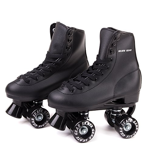 C SEVEN Skate Gear Soft Classic Faux Leather Roller Skates (Classic Black, Youth 6 / Men's 6 / Women's 7)