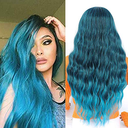 TIANTAI 26 Inch long Wavy Blue Wigs for Women Long Curly Wave Hair Wig Heat Resistant Synthetic Middle Part Daily Party Cosplay Full Wigs