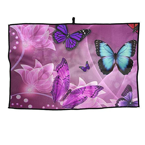 XIKEWL Breathable Microfiber Golf Towel Fantasy Art Butterflies Fast Drying Sport Towel - for Yoga, Sport, Running, Gym, Workout,Camping, Fitness, Workout & More Activities