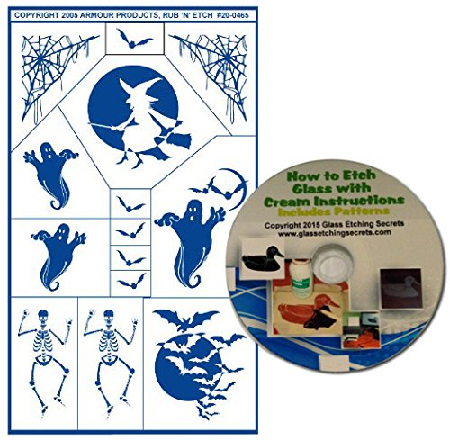 (Skeleton Glass Etching Stencils for Halloween with Bats & Witch in Moon, Ghosts, Spider Web + Free How to Etch)