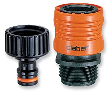 Wonderful Claber 8458 Faucet To Garden Hose Quick Connector Set