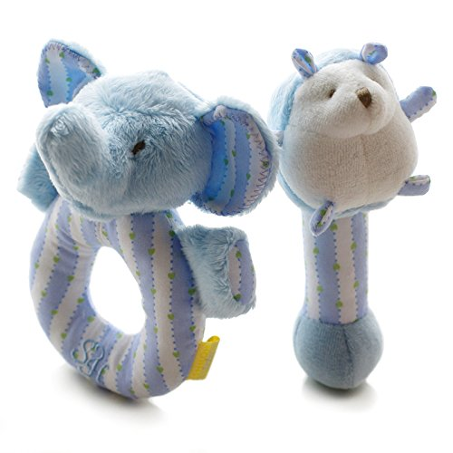 SHILOH Baby Plush Rattle 2 cont Elephant and Hedgehog Blue 4.8inX5.6in