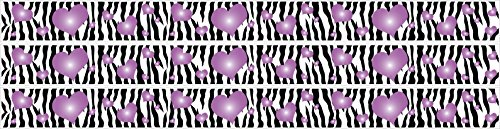 - Zebra Print and Purple 3D Hearts Wall Sticker Border Decals
