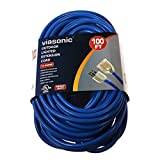 Viasonic Premium Outdoor Extension Cord UL listed - Super Heavy Duty & Durable - 12 Gauge - .15AMP-125V-1875W - Industrial Blue Cord, Premium Lighted Plug, by Unity (100 Ft)