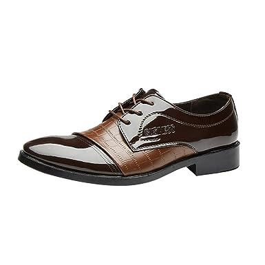 Sannysis Lederschuhe Herren Business Anzugschuhe Schnürhalbschuhe Oxford Schuhe Smoking Lackleder Hochzeit Derby Leder Brogue Schwarz Braun 38 47