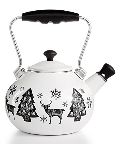 Christmas Tree and Stag Whistling Tea Kettle Martha Stewart