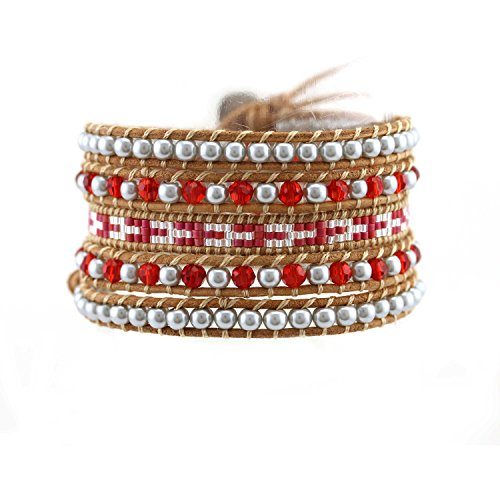 TTTS0076 Handmade Leather Wrap Bracelet Mix Beaded Bracelet With Stainless Steel Clasp Christmas Gift Strand Bracelet For Women, 5 Wraps Sliver Red