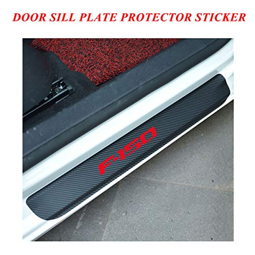 Car Door Sill Entry Guards Protector Stickers, Door Sill Protector Covers with F-150 Logo, Universal Vinyl Door Sill Scuff Plate Protector Pedals for car, Door Sill Guards for Ford F150 series Red