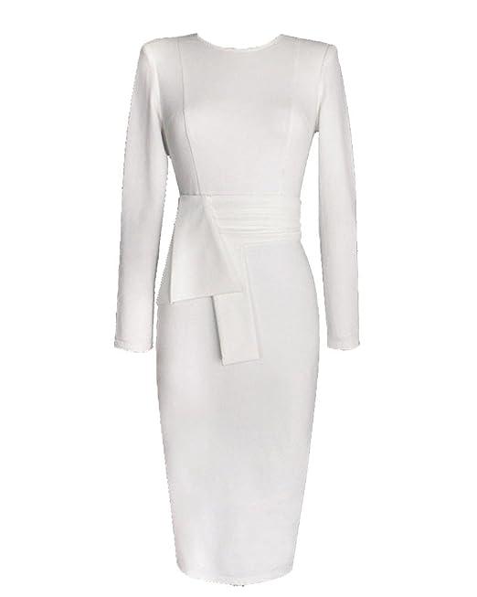 Vestidos Para Mujer Cuello Redondo Otoño Vintage Casual Coctel Fiesta Negocios Cortos Bodycon Ropa Vestidos Blanco