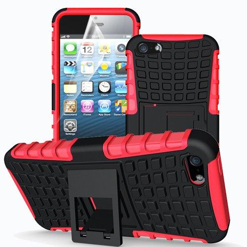 Apple iPhone 5 / 5S / SE Outdoor Handy Tasche Rot Hybrid Case Schutz Hülle Panzer TPU Silikon Hard Cover Bumper I betterfon