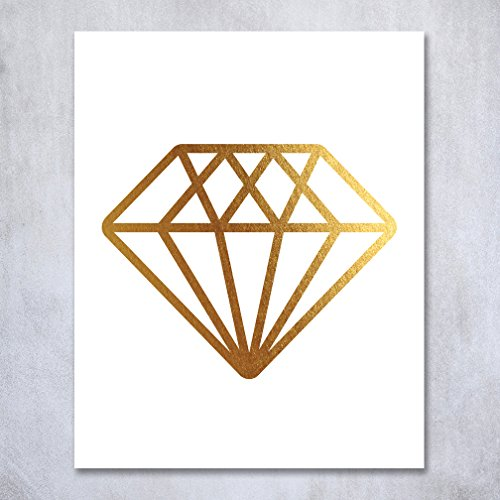 Diamond Gold Foil Print Wall Art Bride Engaged Gift Fiance Home Decor Metallic Gemstone Poster 8 inches x 10 inches B12