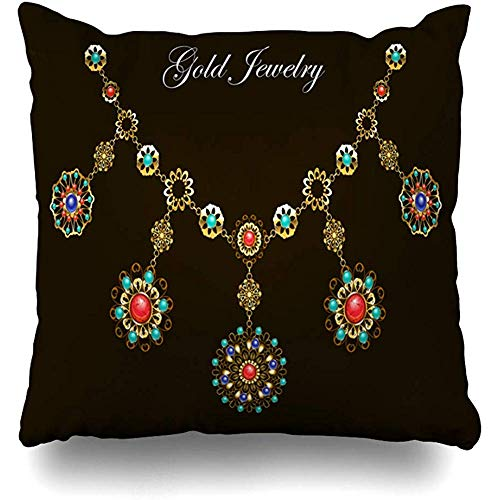 Throw Pillow Cover Square Cases 18x18 Inches Necklace Red Gem Ethnic Gold Semiprecious Stones Lapis Carnelian Boho Gemstone Medallion Turquoise Cushion Home Decor Pillowcase ()