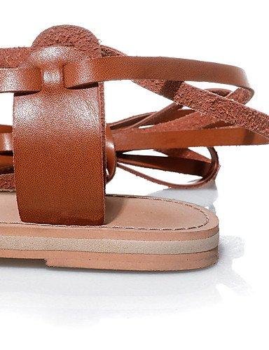 LFNLYX Zapatos de mujer-Tacón Plano-Talón Descubierto / Anillo Frontal / Mary Jane / Gladiador / Punta Abierta-Sandalias-Exterior / Vestido / almond