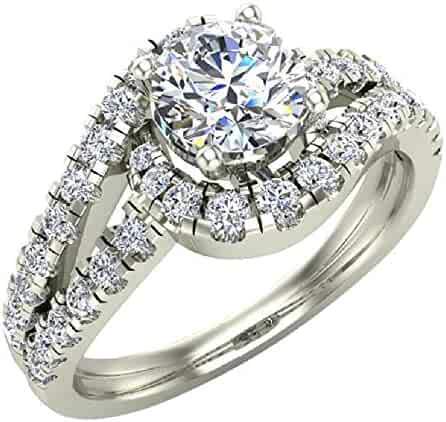 1.25 ctw Ocean Wave Style Split Shank Diamond Engagement Ring 14K Gold (I,I1)