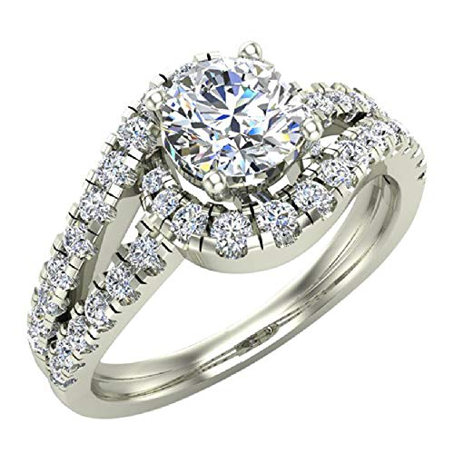 Ocean Wave Intertwined Diamond Engagement Ring for women 14K White Gold 1.25 Carat Total 3/4 ct Center Round Brilliant Cut (Ring Size 8.5)