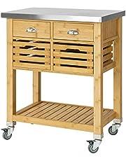 SoBuy Wózek do serwowania z 2 koszami i 2 szufladami, wózek kuchenny, wózek na kółkach z blatem ze stali szlachetnej