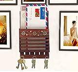 Wooden Handmade Mail Box Cum Key Holder, Key Hooks Multipurpose Letter Box with Strip Design & Organize Storage Wall Hanging Letter Holder and Key Organizer