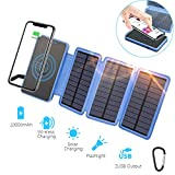 10000mAh Solar Qi Wireless Charger, Outdoor Portable Power Bank with 3 Solar Panels and Carabiner, Fast Charge External Battery Pack with Dual 2.1A Output USB Compatible with Smartphones, Tablets, etc