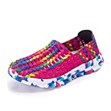 L LOUBIT Women Sneakers Handmade Slip on Woven Shoes Breathable Walking Shoes Red 8.5