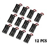 WAYLLSHINE® 12 Pcs/1 Dozen 2 x 1.5V AA Battery Holder Case Box Black Wire Leads