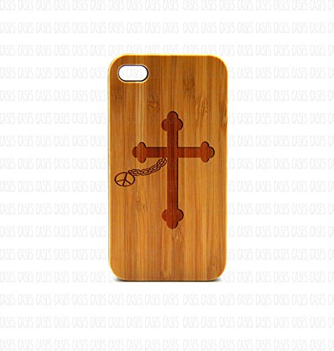 Krezy Case Real Wood iPhone 4s Case,cross with peace iPhone 4s Case, Wood iPhone 4s Case, Wood iPhone Case,