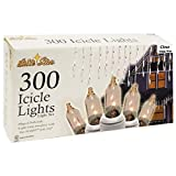 Brite Star 300 Count Icicle Lights with White Wire, Clear