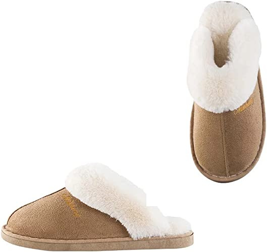 Womens Slipper Faux Fur Fluffy Slip-On House Suede Fur Lined/Anti-Skid Sole,Indoor & Outdoor LightBrown270