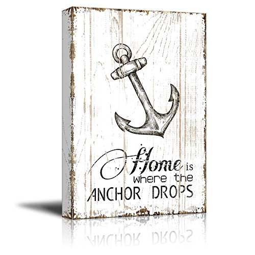 Home is Where The Anchor Drops Quotes on Wood Style Background