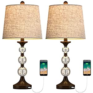 Oneach USB Table Lamps Crystal for Living Room Set of 2 Modern Bedside Lamp with Clear Stacked Ball 24.5″ Night Light Lamp for Bedroom Accent Oil-Rubbed Bronze