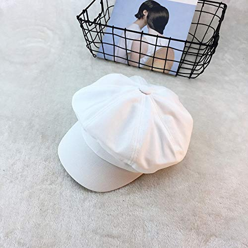 Artist's hat Hat Female Cap Male England Summer Octagonal Cap Literary Retro Newspaperboy Hat Outdoor Beret Female in hat (Color : White)