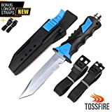 Tactical Ergonomic Multiuse Dive Knife Scuba Diving Equipment Snorkeling Survival Gear Dual Edge Smooth Jagged Corrosion Resistant 440C Stainless Steel Blade HRC Hardness ABS Sheath Lock Leg Arm Strap