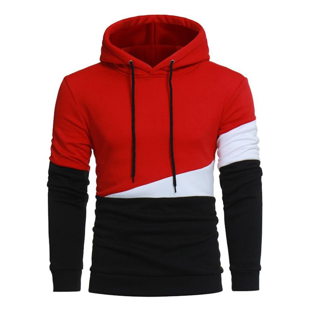 YANG-YI Hot Men Autumn Long Sleeve Hoodie Stitching Color Coat Jacket Outwear Sport Tops (2XL, red) by YANG-YI Mens